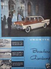 PUBLICITÉ 1958 AUTOMOBILE VEDETTE BEAULIEU CHAMBORD SIMCA - ADVERTISING
