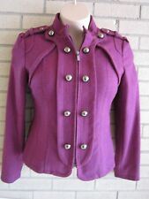 Vintage Steve Madden Large Plum Jacket Double Breasted Front Zip Epaulets MINT