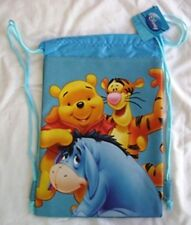 Blue Winnie the Pooh Licensed Drawstring Backpack Kids Disney Sling Tote Gym Bag