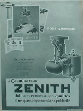 PUBLICITE ZENITH CARBURATEUR FILTRE D'ESSENCE EPURATEUR D'AIR DE 1927 FRENCH AD