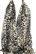 White with Brown Leopard Animal Pashmina Feel Scarf Wrap Shawl