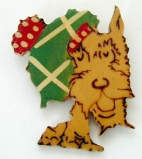 Vintage Wood Scottie Dog Brooch Wood Burned Features Painted Argyle Cap