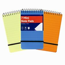 Mini Note Pads 7 Pack School Lined Notebooks Spiral Flip Pads Plastic Cover