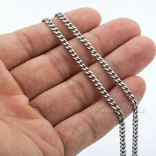 3mm Mens Chain Curb Cuban Link Silver Tone Stainless Steel Chain Necklace 22inch