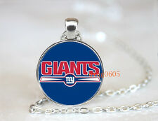 New York Giants football NFL Glass Cabochon Chain Pendant Necklace Jewelry