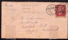 G105 1871 GB Croydon Christmas Cards {samwells-covers}PTS