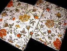 Vintage Orange Rose Floral Standard Size Pillowcases Made in USA by JC Penney