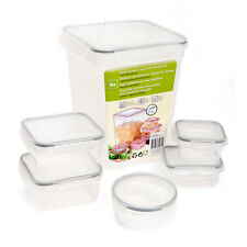 6 x Clear Plastic Air Tight Food Storage Box Containers With Clickable Lids