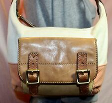 FOSSIL Medium Canvas Leather Shoulder Hobo Tote Satchel Slouch Purse Bag