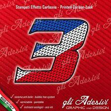 Adesivo Stickers NUMERO 3 moto auto cross gara Carbon Effect Blu White Red 5 cm