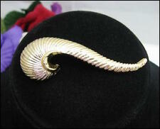SWIRL GOLDTONE SWISH Vintage BROOCH PIN Signed  Costume Jewelry Curl Spiral