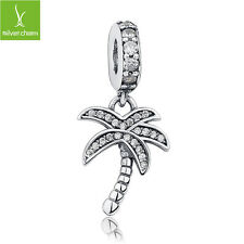 Authentic 925 Sterling Silver Palm Tree Dangle Charms With Clear CZ Fit Original