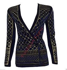 Womens Ladies Beaded Glitter Embellished Long Sleeve Velvet Button Blazer Jacket