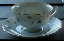 Crescent Twilight Cup and Saucer Japan GOOD COND Pink and Grey Leaves