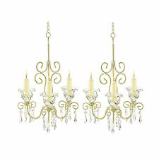 2 SHABBY HANGING CANDLE HOLDER CHANDELIERS WEDDING DECOR NEW