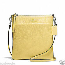 Coach Bag F51629 Swingpack Bleecker Pebbled Leather North South Pale Lemon COD