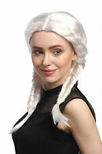Women's Wig Carnival white two Pigtails expensive braided