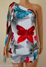 Miss Sixty one shoulder Toots white pink blue floral mini dress Medium 10 12 NWT