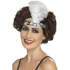 Women's 20's 30's Charleston Lady Fancy Dress Flapper Silver Headband & Feather