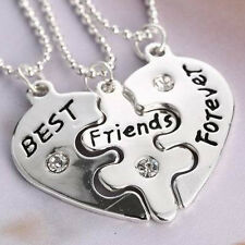 3pcs Best Friends Forever Heart Friendship Pendant Choker Necklace Chain Elgant