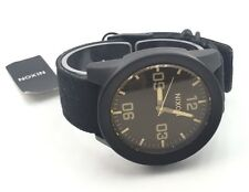 Nixon 'Take Charge' Black Mens Leather Canvas Strap Watch $200