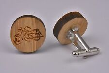 Wooden Cufflinks – Motorbike Harley