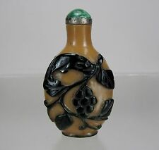 19th C. Black Overlay over Caramel Color Glass Snuff Bottle