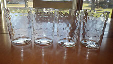 Clear Textured Glass Juice Glasses 4 10 ounce flat bottom glasses ca 1969