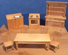 1/12, dolls house Luxury Pine Kitchen Set 8 peices Table chairs etc wood BN LGW