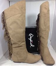 NEW QUPID Faux Taupe Brown Leather Suede Women's Boots Size 7 Shoes Fringe Flats