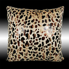 RARE FASHIONABLE BRONZE GOLD LEOPARD VELVET THROW PILLOW CASE CUSHION COVER 17""