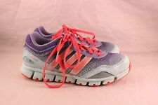 PAIR OF OLDER GIRL'S SIZE 3 ADIDAS BLUE, AQUA & CORAL TENNIS SHOES/SNEAKERS
