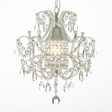 Wrought Iron And Crystal White Chandelier Pendant Decoration House Home Lighting