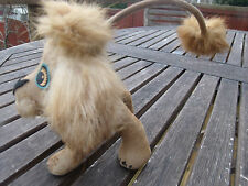 Vintage Flocked Toy Lion Cub Real Fur 50 60-ties Long Tail Paper Eyes