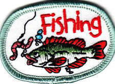 """""""FISHING"""" PATCH w/FISH & BAIT-Iron On Embroidered Applique/Words,Fishing,Sport"""