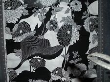 "Alexander Henry 2003 ""Yoko"" black and white floral fabric.100% cotton 1 + yd"