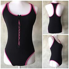 Womens Speedo One Piece Swimsuit Zip Front Black w/ Pink Racerback Size 12 K21