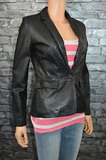 Nwt Womans Short Black Leather V-Neck City Jacket Blazer Coat 6