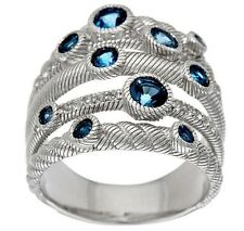 Judith Ripka Sterling London Blue 5 Band Ring Size 10 NEW IN BOX