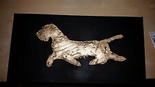 FUNKY WIRE HAIRED DACHSHUND SALTDOUGH ON CANVAS PICTURE 28cm x 20cm