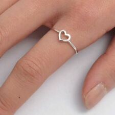 .925 Sterling Silver ring size 5 Heart Knuckle Midi Girls Thumb Open New b57