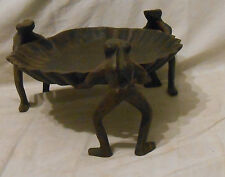REPRODUCTION CAST IRON 3 FROGS AND SHELL SOAP DISH / TREAT PLATE BROWN FINISH