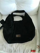 EUC AUTH Valentino Nuage Bow Double Strap Tote Hobo Black Suede Leather Handbag