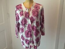 Cyrus Cardigan Sz XL Lite-Med Weight V-Neck 3/4 Sleeve Pink Roses on White Nice!