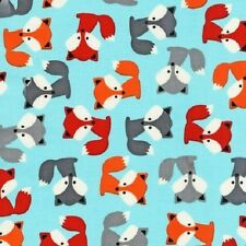 Robert Kaufman Cotton Fabric. Urban zoologie Fox-Foxes in Sky Blue . By the FQ