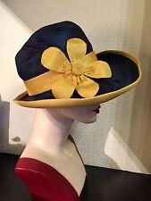 Stunning True Vintage Wide Brim Straw Hat By Cresta