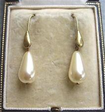 Dainty Vintage Cream Glass Faux Pearl Tear Drop Earrings