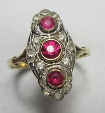 Victorian 9ct Gold Old Cut Natural Ruby Rub Over Three Stone Geometric Ring