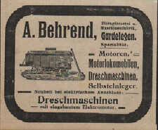 Garde posare, Pubblicità visualizzazione/1913, A. Behrends trebbiatrici motorlokomobile