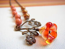 Orange Flower Necklace, Branch Necklace, Copper and Orange Pearl Necklace